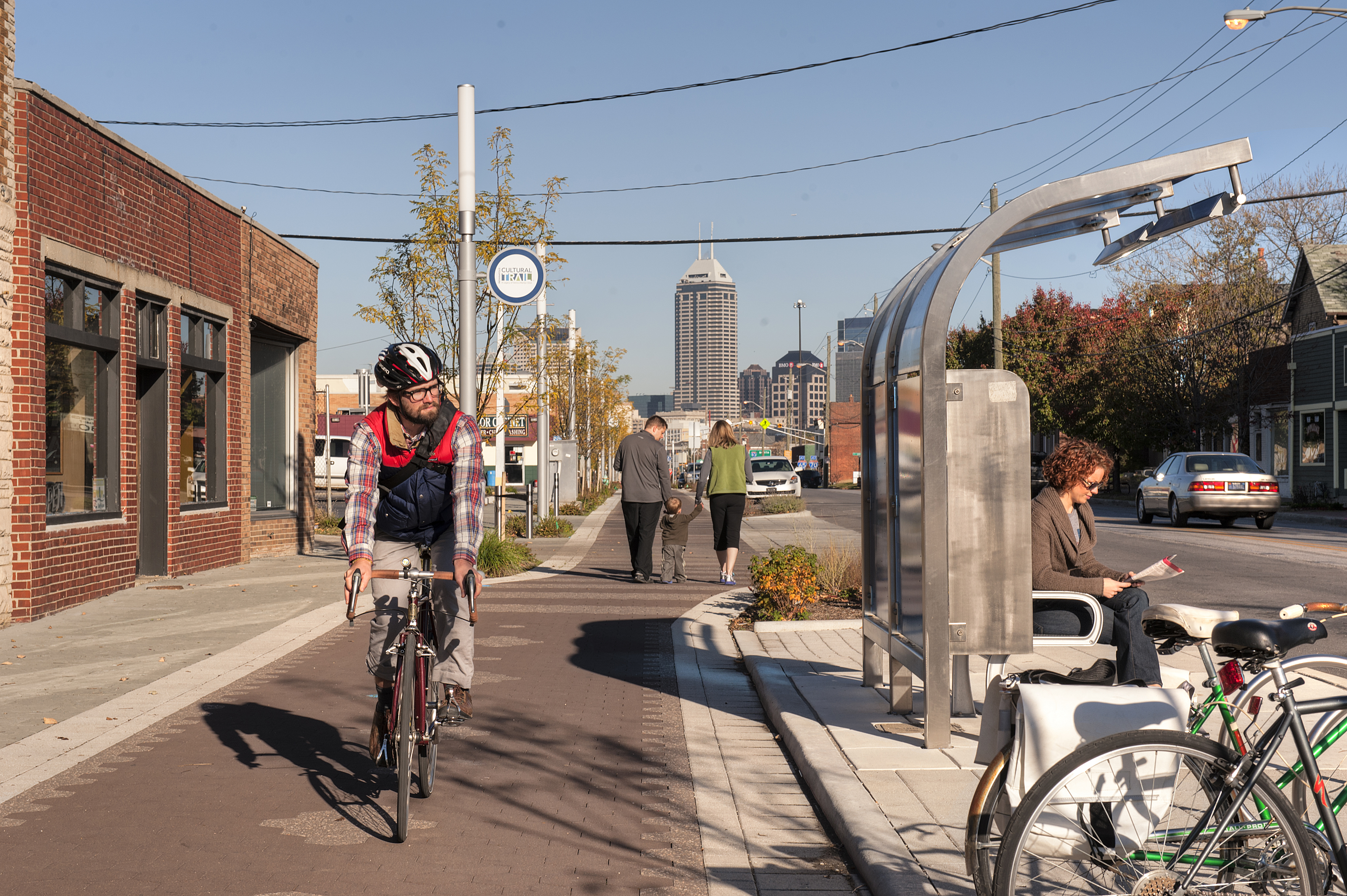 The ICT supports multimodal connectivity with custom designed transit stops along the trail corridor.