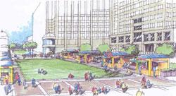 A design sketch of a public space.