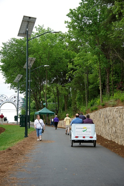 Residents using an open section of the Downtown Greenway.