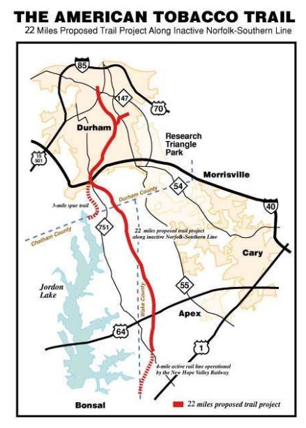 Map of the proposed trail trajectory.