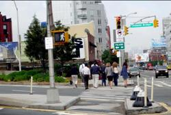 New crosswalk at Jackson Avenue at Pulaski Bridge.