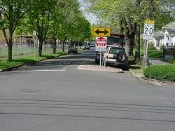 Traffic-calmed street near Sabin Elementary School.