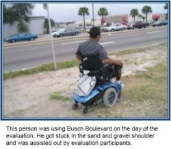 Wheelchair user gets stuck in sandy shoulder.