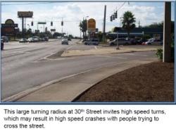 Large turning radius invites high speeds.