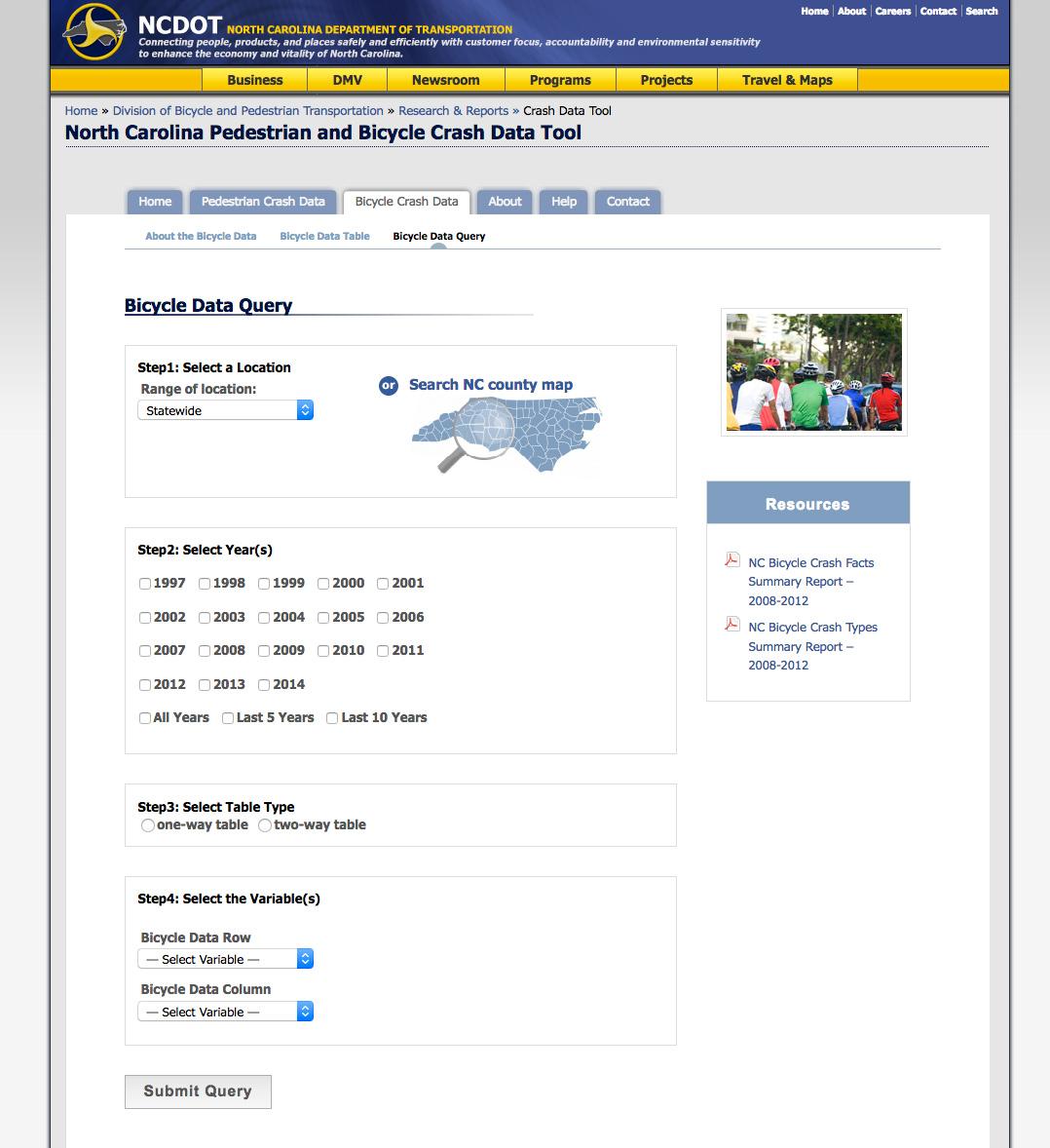 North Carolina Bicycle and Pedestrian Crash Data Tool - Help